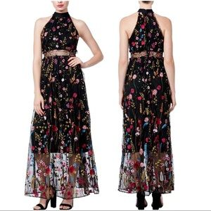 Betsey Johnson Embroidered Floral Maxi Dress Sz 8